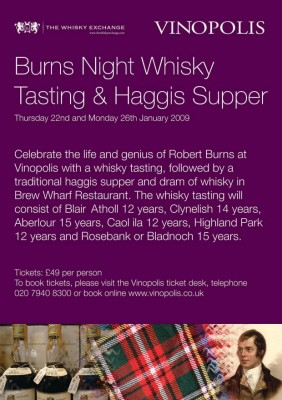 Burns Night Whisky at Vinopolis