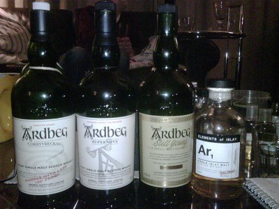A bunch of Ardbegs (photo by Joel)
