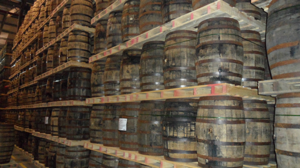 Casks resting in one of Midleton's vast warehouses