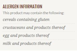 Allergens info