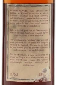 Glenmorangie 1963 back label