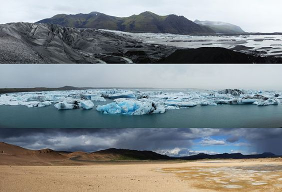 Three examples of Icelandic landscapes.