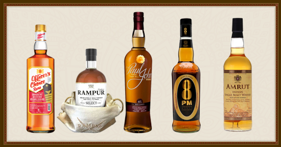 Five of the best-known Indian whiskies