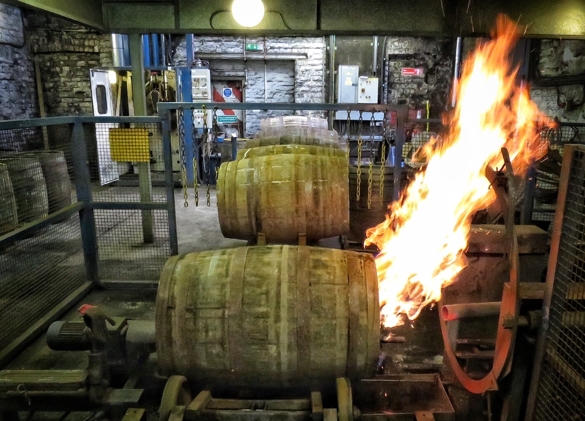 Casks being charred at Loch Lomond distillery